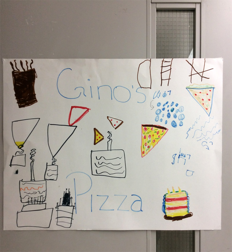 blog ginos pizza sign child care activity fun